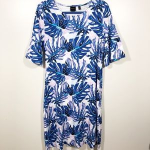 Rafaella Cotton Palm Leaf Bell Sleeve Dress